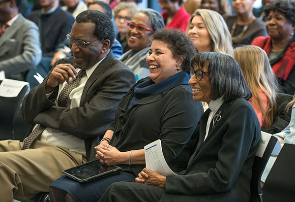 Honorees Charles Payne, Esther Nieves, AM '87, and Dolores Norton