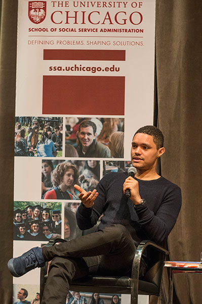 SSA Postdoc Shantá Robinson moderated a conversation and Q&A with Trevor Noah