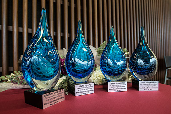 Honorees Inabel Burns Lindsay, AM '37, Esther Nieves, AM '87, Dolores Norton, and Charles Payne