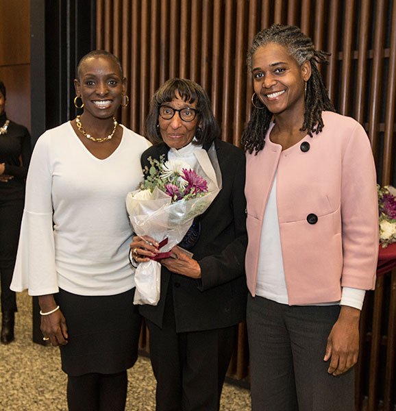 Panelists Phyllis West and Marla McDaniel with honoree Dolores Norton