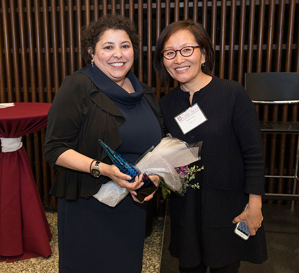 Honoree Esther Nieves with panelist Inhe Choi, Executive Director of the Hana Center