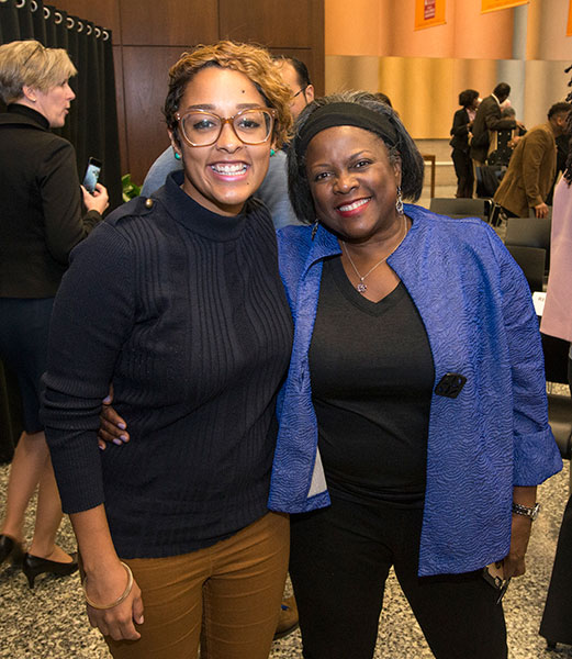 Journalist and educator Sylvia Ewing, who moderated panel discussion, pictured with daughter and SSA postdoctoral scholar Eve Ewing
