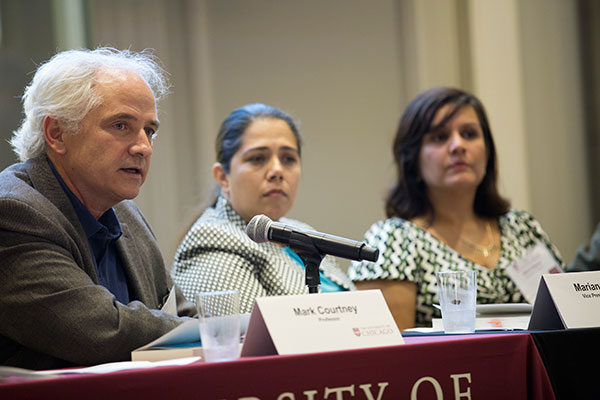 Mark Courtney, Professor, SSA; Mariana Osoria, Vice President of Centers for Family Focus; and Marci Ybarra, Assistant Professor, SSA