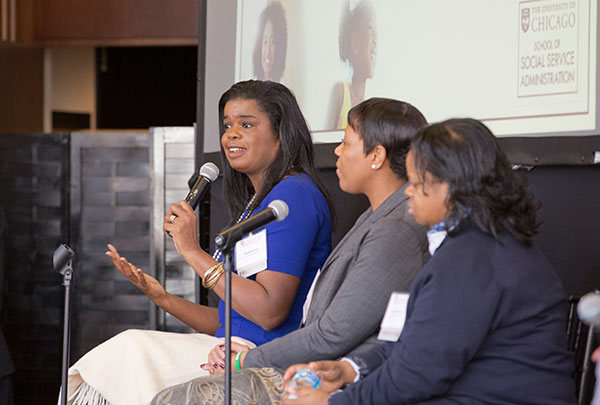 Panelists Kimberly Foxx, Nneka Jones Tapia, and Shantá Robinson