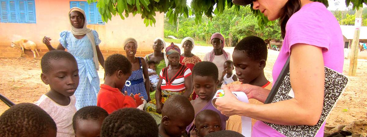 children in Ghana learn about water quality from wells and streams