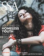 """SSA cover featuring a female-presenting person  seated on the ground looking towards the camera with title: """"Counting of Homeless Youth."""""""