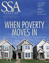 """SSA cover featuring three suburban homes against a blue sky with title: """"When Poverty Moves In."""""""