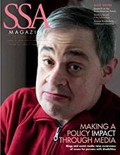 """SSA cover featuring a male-presenting person glancing towards the camera with title: """"Making a Policy Impact Through Media."""""""