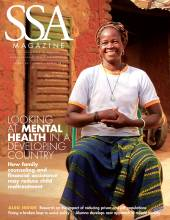 """SSA cover featuring a female-presenting person sitting outside with title: """"Looking at Mental Health in a Developing Country."""""""