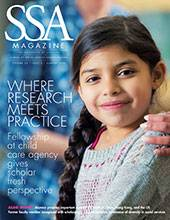 """SSA cover featuring a female-presenting child smiling towards the camera with title: """"Where Research Meets Practice."""""""