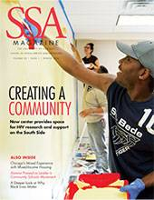 """SSA cover featuring a male-presenting person painting a wall with title: """"Creating a Community."""""""
