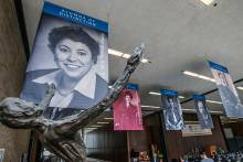 Banners of honorees hung in SSA lobby alongside other leaders of SSA and the social work field