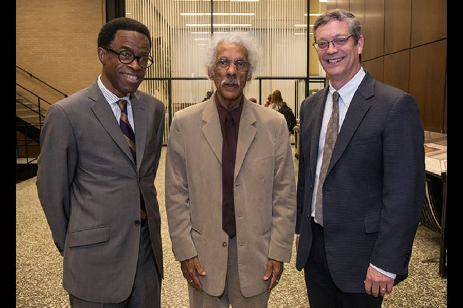 Associate Professor Waldo E. Johnson Jr., Albert J. Raboteau, and Dean Neil Guterman