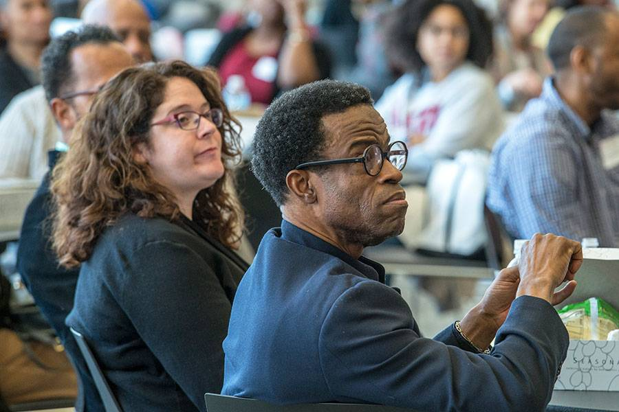 Gina Fedock and Waldo Johnson, Jr. at the Cafferty Lecture 2018