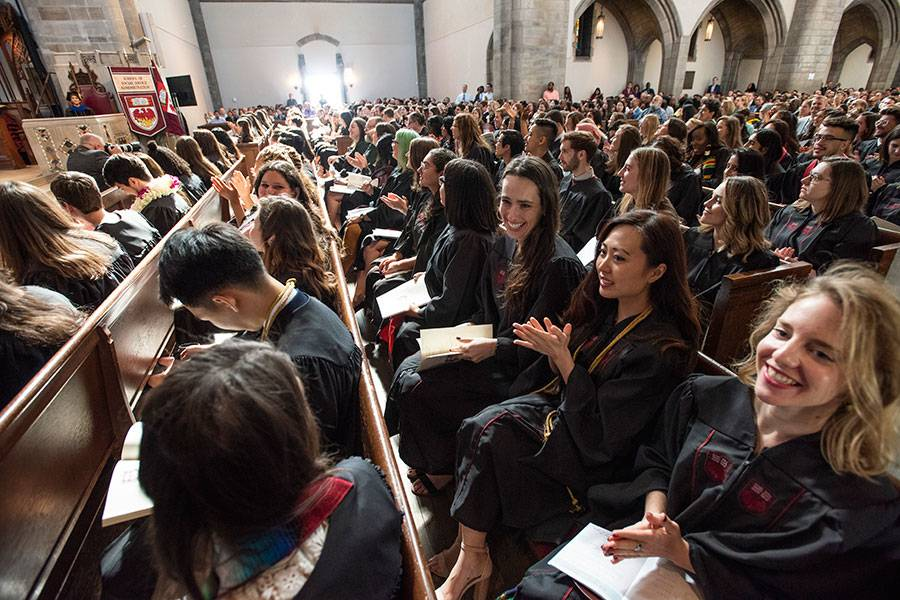 Graduates at the hooding ceremony in Rockefeller chapel