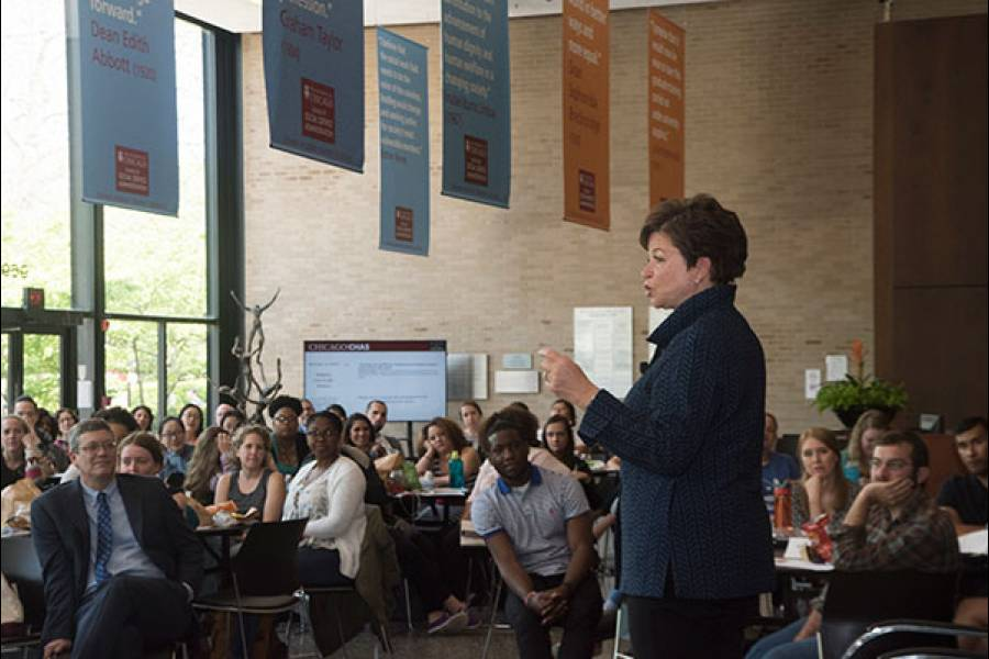 Valerie Jarrett, former Senior Advisor to President Barack Obama, spoke to the Class of 2017
