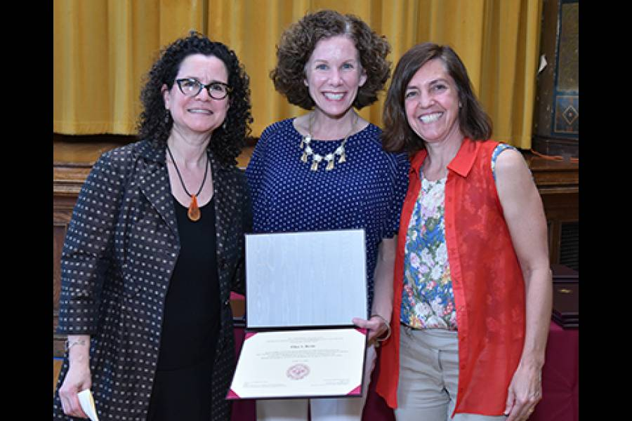 Lecturer Laura Botwinick and Professor Colleen Grogan with student at GPHAP Certificate Ceremony