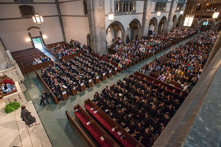A birds-eye view of graduates and their families in Rockefeller Chapel