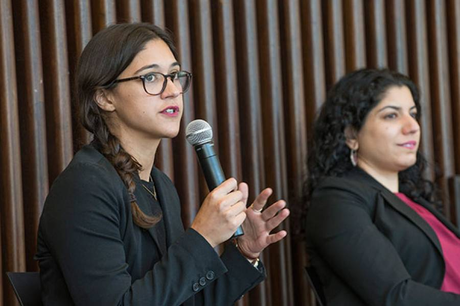 Panel discussion and Q&A included Assistant Professor Angela García, CARA staff attorney Gracie Willis, NIJC;s Adult Detention Project supervising attorney Hena Mansori, and moderated by Nathan Roter, AM '17