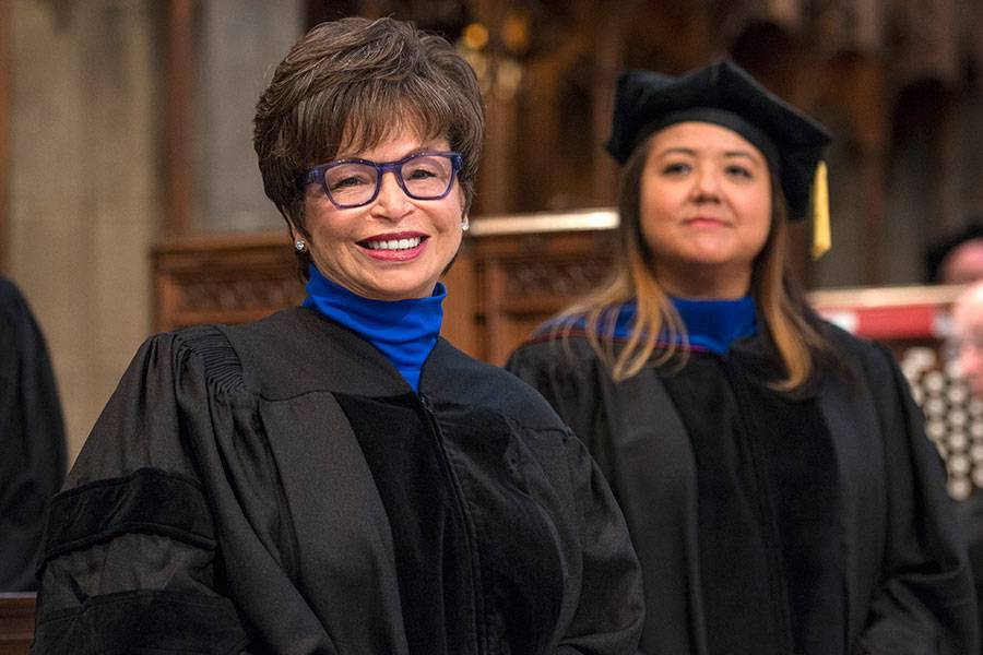 Valerie Jarrett and Sara Furr, Dean of Students, at the 2018 Graduation and Hooding Ceremony