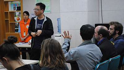 A presentation at a social service agency in Guangzhou