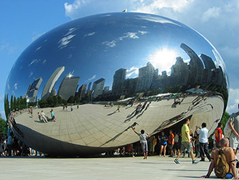Chicago's Bean sculpture on a sunny summer day