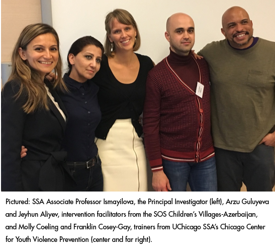 Pictured Prof. Ismayilova, the Principal Investigator (left), Arzu Guluyeva and Jeyhun Aliyev, intervention facilitators from the SOS Children's Villages-Azerbaijan, and Molly Coeling and Franklin Cosey-Gay, trainers from UChicago SSA's Chicago Center for Youth Violence Prevention (center and far right).